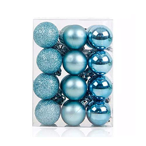 Teal Christmas Ornaments (TangTanger Christmas Ball Assorted Pendant Shatterproof Ball Ornament Set Seasonal Holiday Wedding Party Decorations(24 pcs, 3 cm))