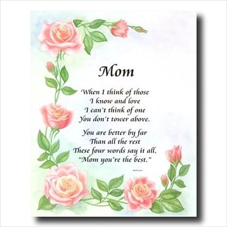 Amazoncom Mamá Poema Madre Pared De Flores De Motivación