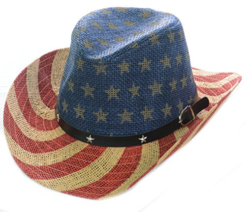 Coyboy Hat - Fourever Funky American Flag Star Studded Unisex Drifter Cowboy Hat Natural Stars and Stripes