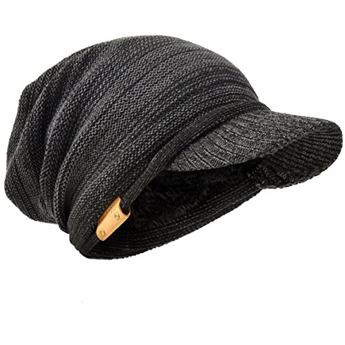 HISSHE Men Oversize Skull Slouch Beanie Large Skullcap Knit Hat - Visors Billed Large