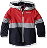 London Fog Little Boys' Chest Stripe Poly Lined Jacket, Bold Red, 5/6