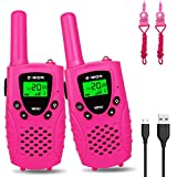 Walkies Talkies for Kids, 22 Channels FRS/GMRS UHF Two Way Radios 4 Miles Handheld Mini Kids Walkie Talkies for Boys Girls Best Gifts Kids Toys Built in Flashlight, Pink