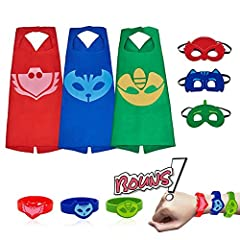 "Measures approximately 27"". One size, suitable for children 4-10. Masks are soft felt and easily adjustable to strap onto any size head. This set is perfect for children over 4 that want to pretend to be their favorite comics cartoon heros du..."