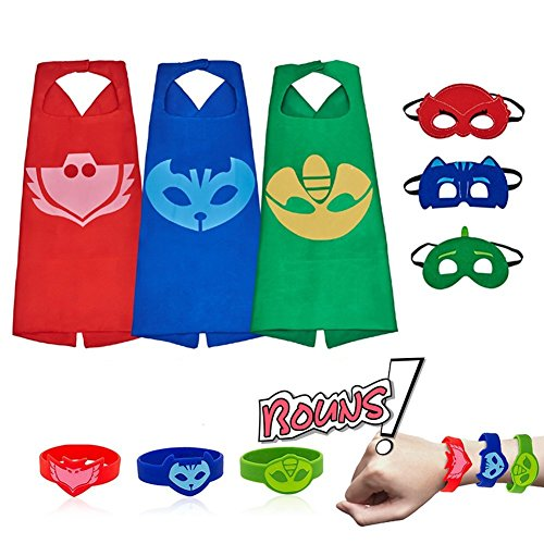 RioRand Kids Dress up Costumes Cartoon Capes with Masks for Boys Girls 3-Pack -