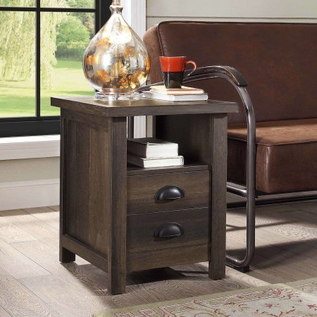 Better Homes and Gardens Granary Modern Farmhouse End Table,Aged Brown Ash, Brown from Better Homes & Gardens