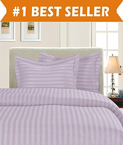Elegant Comfort Luxury 2-Piece Stripe Duvet Cover Set 1500 Thread Count Egyptian Quality Silky Soft, Twin/Twin XL, Lavender/Lilac