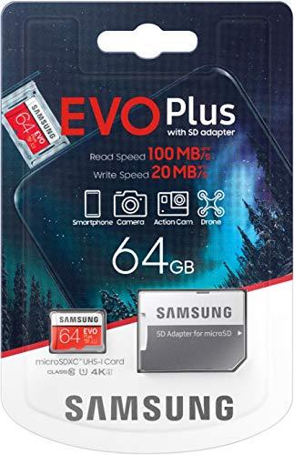 Samsung Evo Plus 64 GB MicroSD SDXC klasse 10 Nieuw model tot 100 MB/S Full HD en 4K UHD met adapter