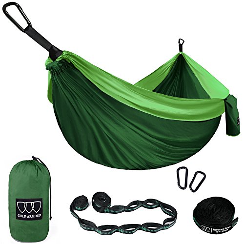 Gold Armour Camping Hammock - XL Double Parachute Camping Hammock (2 Tree Straps 16 LOOPS/10 FT Included) Lightweight Nylon Portable Hammock, Best Parachute Double Hammock (Green/Green)