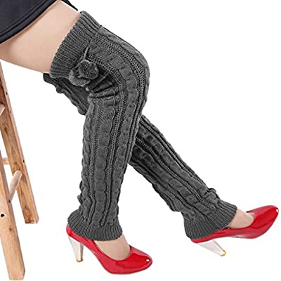 Ladies Girl Long Leg Warmer Women Ribbed Knit Boot Cover Winter Fashion thermal Dance Sports Leg Warmers Thigh High Socks Cable Knit Crochet Long Boot Socks Legwarmers with Pompom Ball