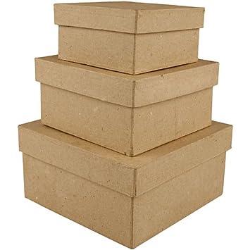Creativ - Cajas de cartón (cuadrada, 10 x 12,5 x 15 cm, 3 unidades): Amazon.es: Hogar