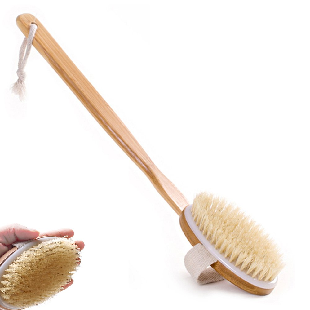 Bath Brush with Long wooden Handle for Back Body Shower Bristle Spa Scrubber Bathroom Hootech