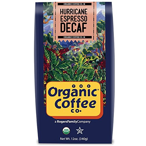 The Organic Coffee Co., Decaf Storm Espresso- Whole Bean, 12 Ounce, Swiss Water Process- Decaffeinated, USDA Organic