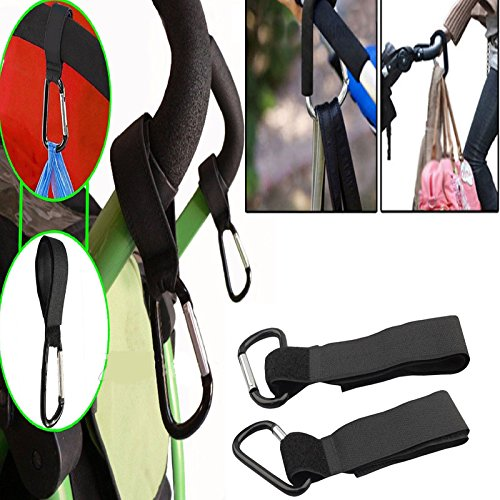 Shoresu Shopping Bag Stroller Hook for Wheelchair Stroller Carabiner Clip Baby Strollers Carriage Bag Hooks Clip Accessories 2 Pieces 24cm/9.45