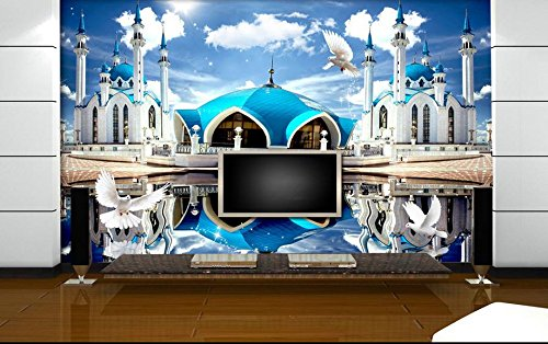 Sproud Hd Blue Castle Blue Sky Reflection Wall Mural Wallpaper Stereo Backdrop 3D-Room-Wallpaper - Reflections App