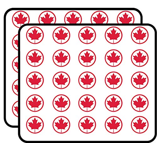 Red Round Gift Stickers - Round Maple Leaf (from Canada Canadian Flag) Sticker for Scrapbooking, Calendars, Arts, Kids DIY Crafts, Album, Bullet Journals