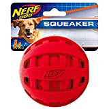 Nerf Dog Checker Squeak Rubber Ball Dog Toy, Medium/Large, Red