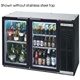 Beverage Air BB48GY-1-B-27 Standard Depth Glass Door Back Bar Cooler in Black w/ Stainless Steel Top