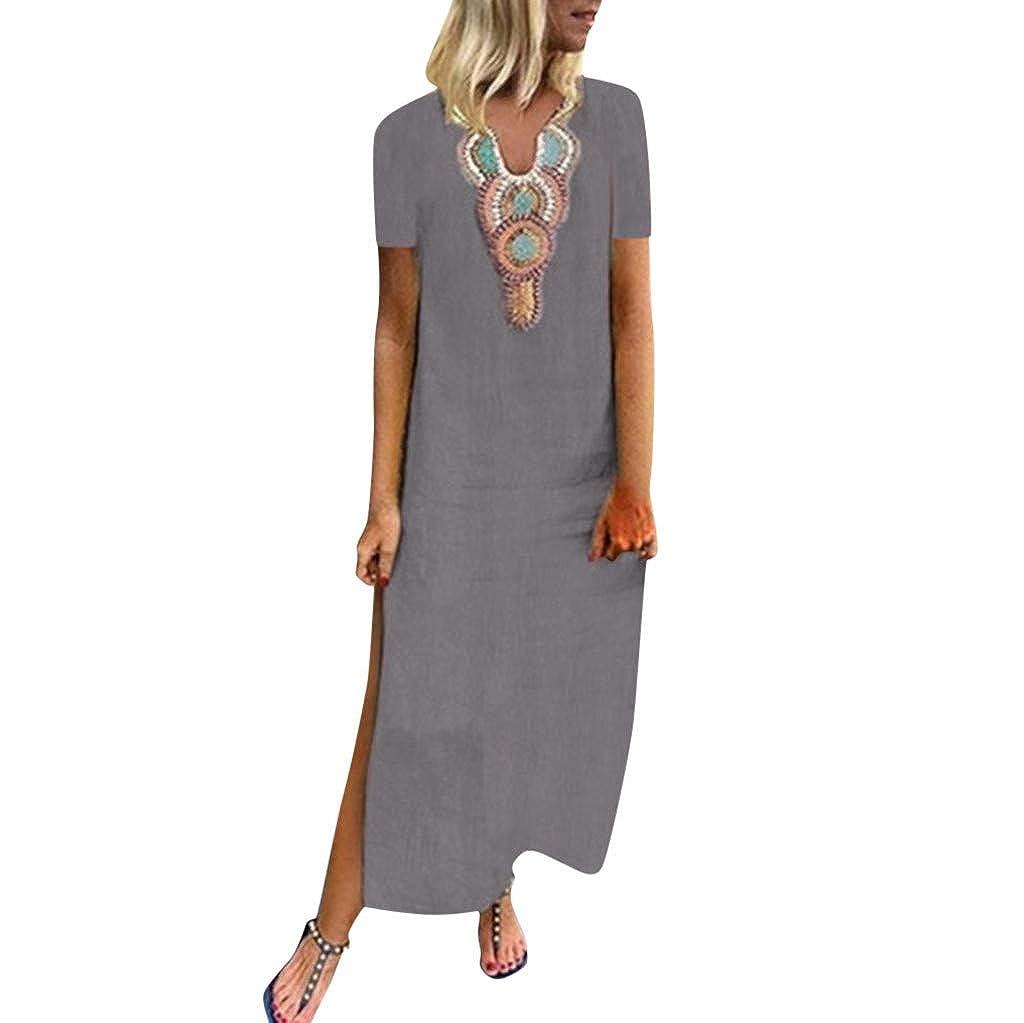 Women Dress,Jessboy Women Print V-Neck Side Slit Bohemian Dresses Shift Boho Maxi Dress