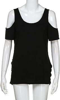FAMILIZO Camisetas Sin Hombros Mujer, Camisetas Mujer Verano Blusa Mujer Elegante Camisetas Mujer Manga Corta Algodón Camiseta Mujer Camisetas Mujer Fiesta Camisetas Mujer Blancas (S, Negro): Amazon.es: Ropa y accesorios