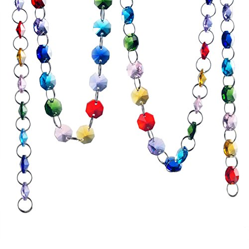 - H&D 6FT Glass Crystal Rainbow Color 14mm Octagon Beads Chain Chandelier Prisms Hanging Wedding Garland