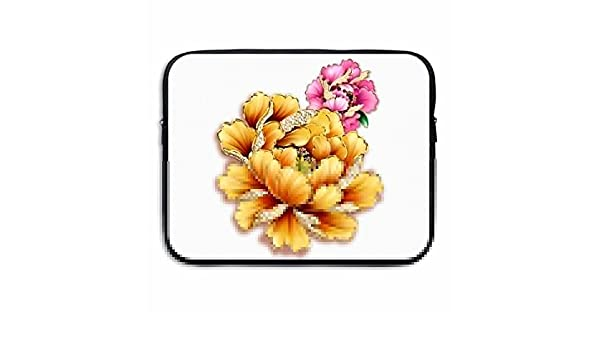 Reteone Laptop Sleeve Bag White Flowers Seamless Art Cover Computer Liner Package Protective Case Waterproof Computer Portable Bags