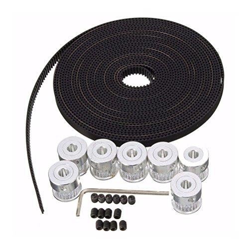 UEETEK 3D Printer Accessory,8pcs 5mm 20-Teeth Timing Pulley Wheel + 5M GT2 Timing Belt for 3D Printer