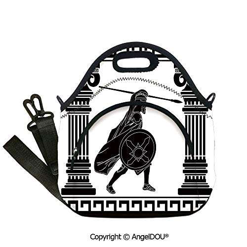 AngelDOU Toga Party Reusable Insulated Lunch Bags with Pocket Black Warrior Silhouette Ready to Attack Between Ancient Ionic Palace Columns lunch bag for Employee student Women G12.6x12.6x6.3(inch)