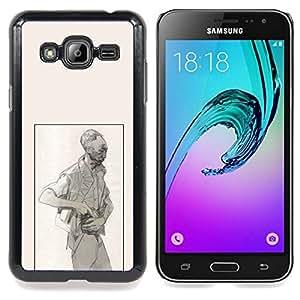 - Man Criminal Gun Art Pencil Drawing Painting/ Duro Snap en el tel????fono celular de la cubierta - Cao - For Samsung Galaxy J3