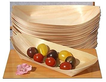 Kraftz 50 Pc Bambus Holz Boote Einweg Geschirr Fur Snacks
