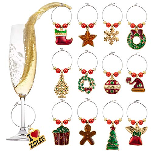 Zolee Christmas Wine Glass Charms, Set of 12 Electro Plated-Gold Zinc-Alloy with Simple Buckle Design - Glass Goblet Drink Markers, Great for Party, Wedding, Gathering, Favors Decoration