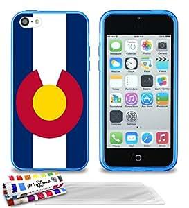 """Carcasa Flexible Ultra-Slim APPLE IPHONE 5C de exclusivo motivo [Bandera Colorado ] [Azul] de MUZZANO  + 3 Pelliculas de Pantalla """"UltraClear"""" + ESTILETE y PAÑO MUZZANO REGALADOS - La Protección Antigolpes ULTIMA, ELEGANTE Y DURADERA para su APPLE IPHONE 5C"""