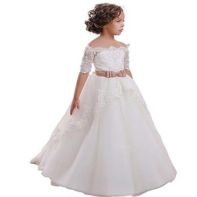 2437f9a4c9082 KekeHouse Robe Longue de Cérémonie Fille Enfant Mariage Anniversaire Fête  Manches 1 2 Dentelle Arc  Amazon.fr  Vêtements et accessoires