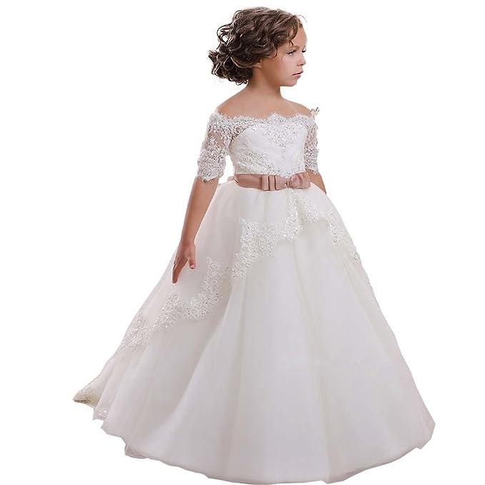 d565c4234 KekeHouse® Princesa manga corta vestido de niña de las flores de tul  vestido vestido de primera comunión Vestido de fiesta de la boda   Amazon.es  Ropa y ...