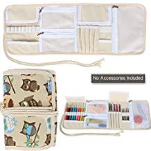 Teamoy Crochet Hooks Holder, Canvas Roll Organizer with Zippered Web Pockets for Various Crochet Needles and Knitting Accessories, Coffee Owls--No Accessories Included