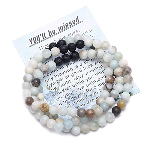 - BOMAIL Gemstone Bead Bracelet for Women Healing Crystal Stone Farewell Bracelet with Message Card & Gift Box Handmade Jewelry