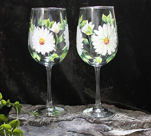 Hand Painted Wine Glasses - Daisies White (Set of 2) ()