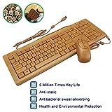 Sengu SG-KU308-N+MU1055-N 2.4GHz Full Bamboo Handmade Wired Multimedia Keyboard and Mouse Combo(3 Key Pads)
