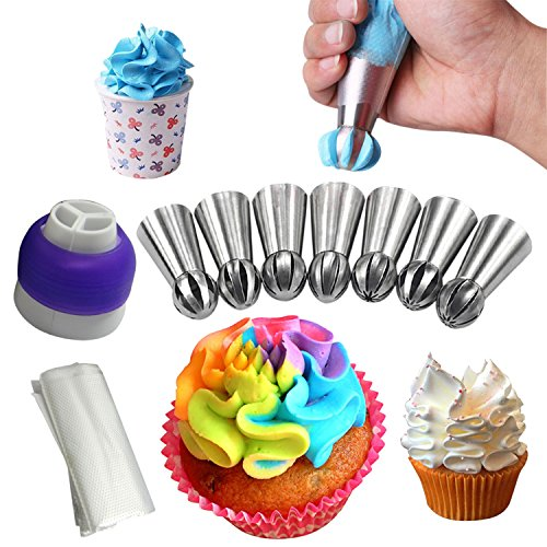 Russian Piping Ball Tips 28pcs Set 7 Sphere Ball 20 Disposable Bags + FREE Tri Color Coupler Decorate Your Cakes Fondant Cupcakes With Instructional Video