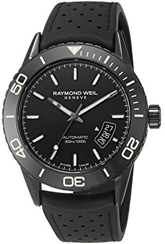 (Raymond Weil Men's Freelancer Stainless Steel Swiss-Automatic Watch with Rubber Strap, Black (Model: 2760-SB1-20001))
