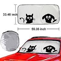 Universal 59x33 inch Car Sunshade Auto Sun Shade for Cars SUV Truck - Pet Pals - Double Bubble Foil Jumbo for Windshield Cute Cartoon Anti Glare Sun Visor - Blocks UV Radiation, Protects Interior Cool