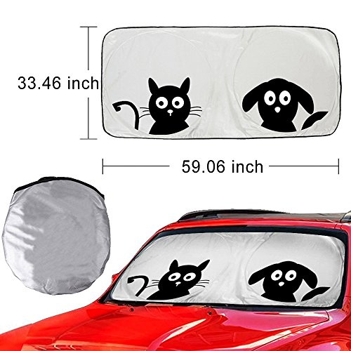 Universal 59x33 inch Car Sunshade Auto Sun Shade for Cars SUV Truck - Pet Pals - Double Bubble Foil Jumbo for Windshield Cute Cartoon Anti Glare Sun Visor - Blocks UV Radiation, Protects Interior Cool