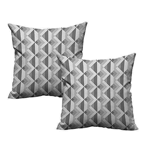 warmfamily Grey Personalized Pillowcase Triangles with Parallel Lines in Dark and Retro Minimalist Pattern Work of Art Print Without core W23 x L23 Ash Shadow
