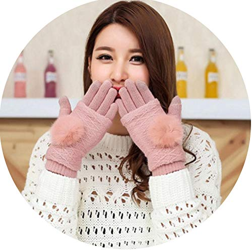 New Wool Gloves Dark Gray 3 Ways Use Rabbit Fur Thicken Winter Pompon Gloves Touched Warm Mittens,Pink,20cm X 10cm