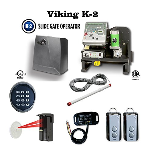 (Viking K-2 Complete Kit Safety Photocell, Transmitter & Receiver, Wireless keypad, Residential Slide Gate Operator)