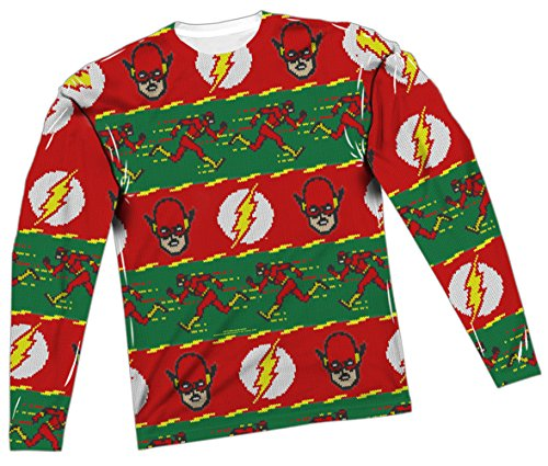 Justice League Ugly Christmas Sweater - The Flash All-Over Long-Sleeve T-Shirt, XX-Large]()