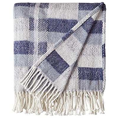 "Amazon Brand – Stone & Beam Modern Farmhouse Color Block Throw Blanket, Soft and Durable, 50"" x 60"", Blue Multi - Varying shades of blue blocks on ivory give this blanket both modern and farmhouse touches. A cotton/acrylic blend makes it soft yet durable to snuggle under for a good night's sleep, or as a handsome drape over a living room chair. 50"" x 60"" 50% Cotton 50% Acrylic - blankets-throws, bedroom-sheets-comforters, bedroom - 51WYZUUmauL. SS400  -"