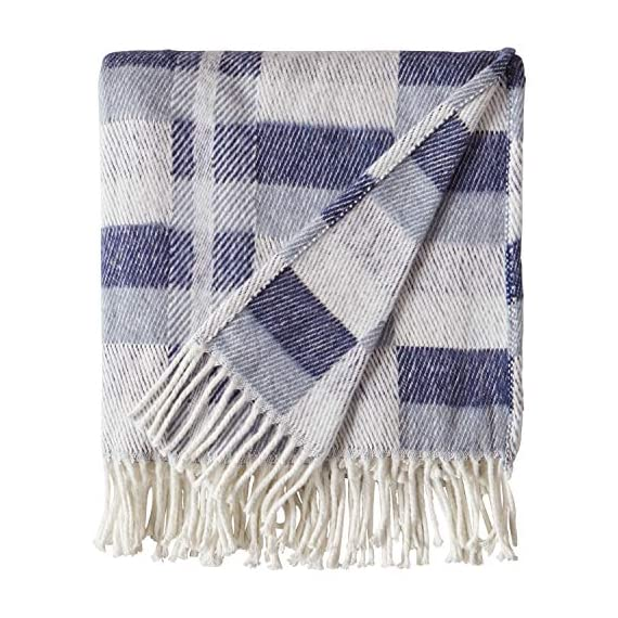 """Amazon Brand – Stone & Beam Modern Farmhouse Color Block Throw Blanket, Soft and Durable, 50"""" x 60"""", Blue Multi - Varying shades of blue blocks on ivory give this blanket both modern and farmhouse touches. A cotton/acrylic blend makes it soft yet durable to snuggle under for a good night's sleep, or as a handsome drape over a living room chair. 50"""" x 60"""" 50% Cotton 50% Acrylic - blankets-throws, bedroom-sheets-comforters, bedroom - 51WYZUUmauL. SS570  -"""