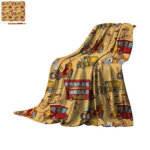 (Cars Digital Printing Blanket Steampunk Inspired Vintage Means of Transportation Colorful Retro Design Oversized Travel Throw Cover Blanket 62