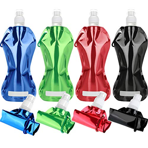 Maitys 8 Pieces Collapsible Reusable Water Bottle Aluminum Leak-Proof Foldable Light Weight Drinking Water Bottle with Clip for Biking, Hiking Travel, 480 ml