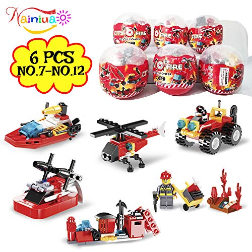 222Pcs Fire Rescue Vehicles Building Blocks Set , 6 Different Models filled in 6 Easter Eggs Including Fire Boat,Helicopters and Fire Truck for Kids Easter Egg Fillers, Easter Basket Fillers #7-#12 ()